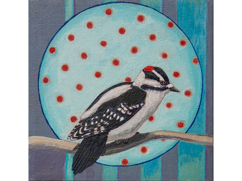 Camouflage Woodpecker by Barbara Bickell 8 x 8 inches