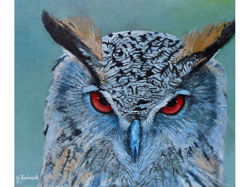 """Horned Owl 12""""x12"""" by Josie Korimsek"""
