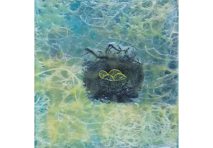 "Nest by Dawn Miller - encaustic mixed-media on wood 6""x6"""