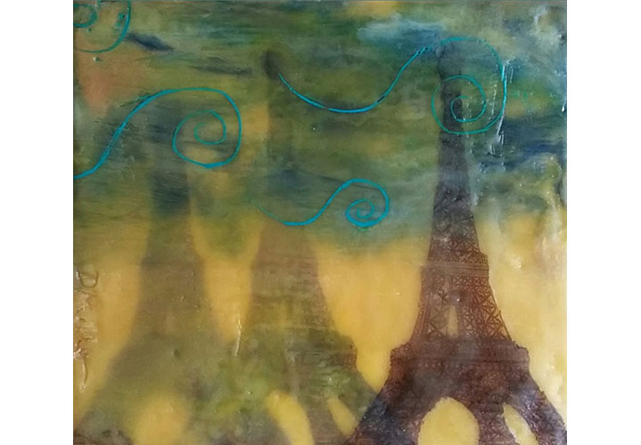 "Paris by Dawn Miller - encaustic  mixed-media on wood 6""x6"""