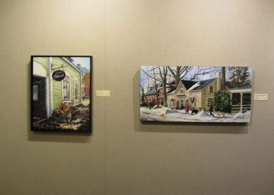 Work by Paivii Marshall on left and Les Robling on right