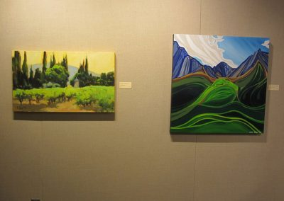 Works by Jane Robertson on the left and Jennifer Burke on the right