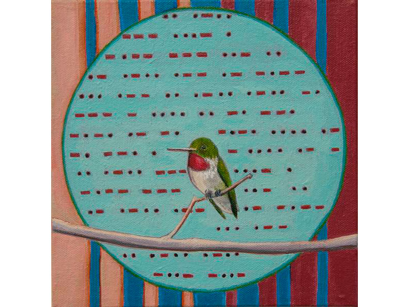 Morse Code Humming Bird by Barbara Bickell 8 x 8 inches